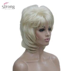 Image 4 - Strongbeauty 여성용 합성 가발 짧은 스트레이트 털이 자연 헤어 캡리스 가발 블리치 블론드 #613