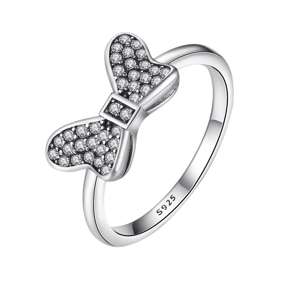 9183a7b26 FOREWE 925 Sterling Silver Ring Cubic Zirconia Crystal Mickey & Minnie Bow  Knot Ring Clear CZ