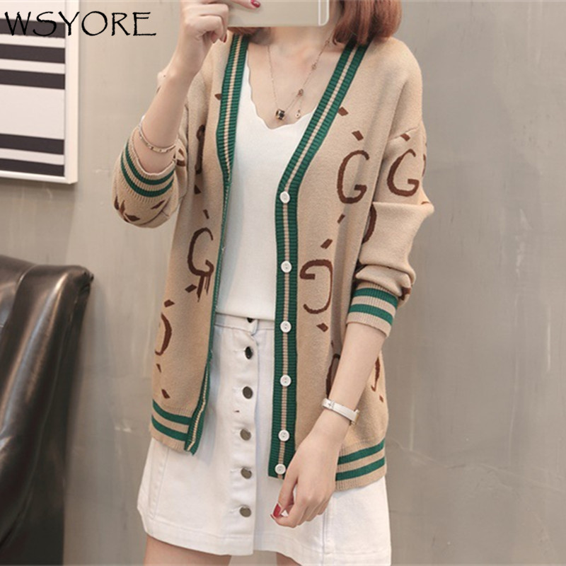 WSYORE Loose Women Cardigans 2018 New Spring V-neck Long Sleeve Single Breasted Printed Letters Sweater Jacket and Coat NS034 ...