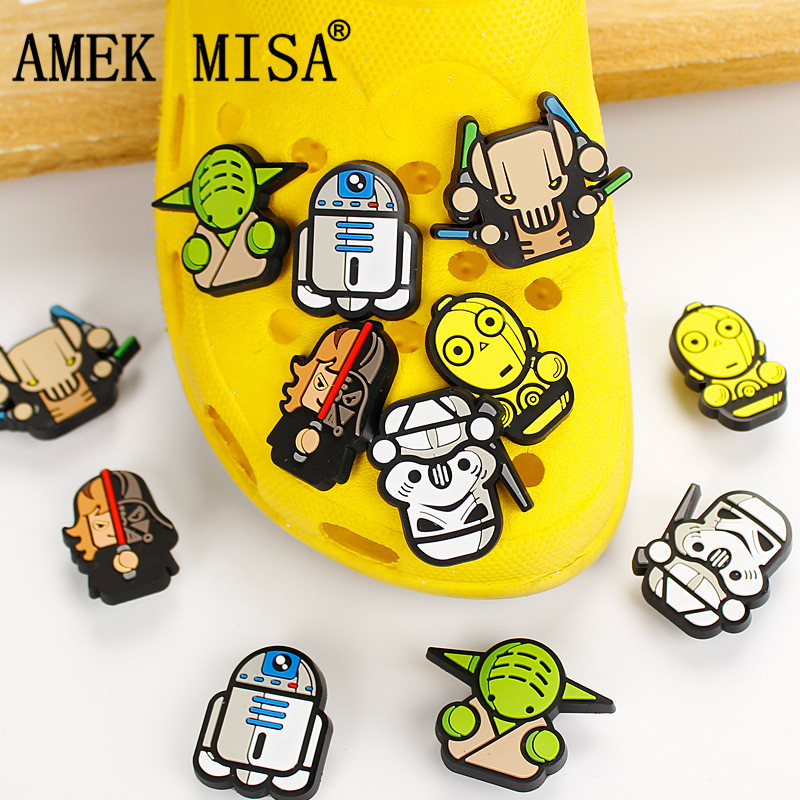Novelty Cute 6Pcs/Lot PVC Cartoon Star Wars Garden Shoes Buckles Accessories Charm Decorations Fit Bands/Bracelets/Croc/JIBZ D29Novelty Cute 6Pcs/Lot PVC Cartoon Star Wars Garden Shoes Buckles Accessories Charm Decorations Fit Bands/Bracelets/Croc/JIBZ D29