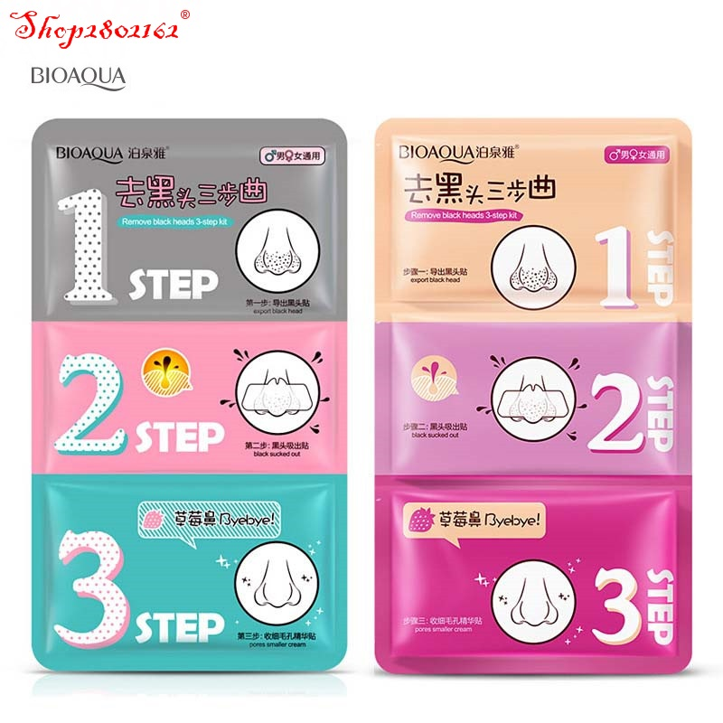 DHL 1000pcs/lot BIOAQUA 3 Step Remove Blackhead Kits To Shrink Clean Pores Nose Strips T Zone Care Set mascara preta cravos acn