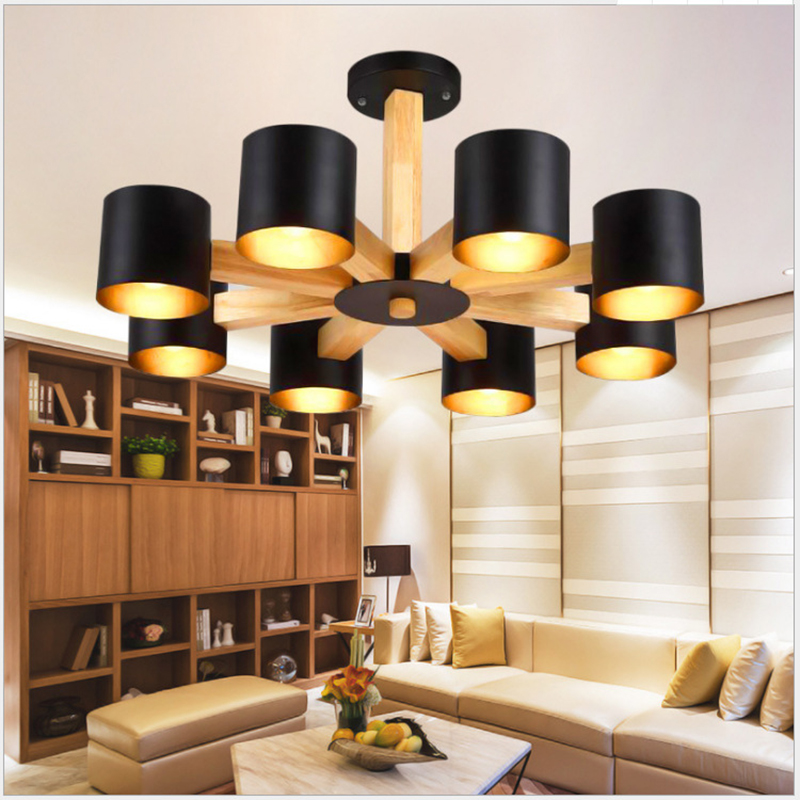 Nordic Modern Wrought Iron Solid Wood E27 Chandelier For Bedroom Kitchen Living Room Bedroom Restaurant Personality Chandelier