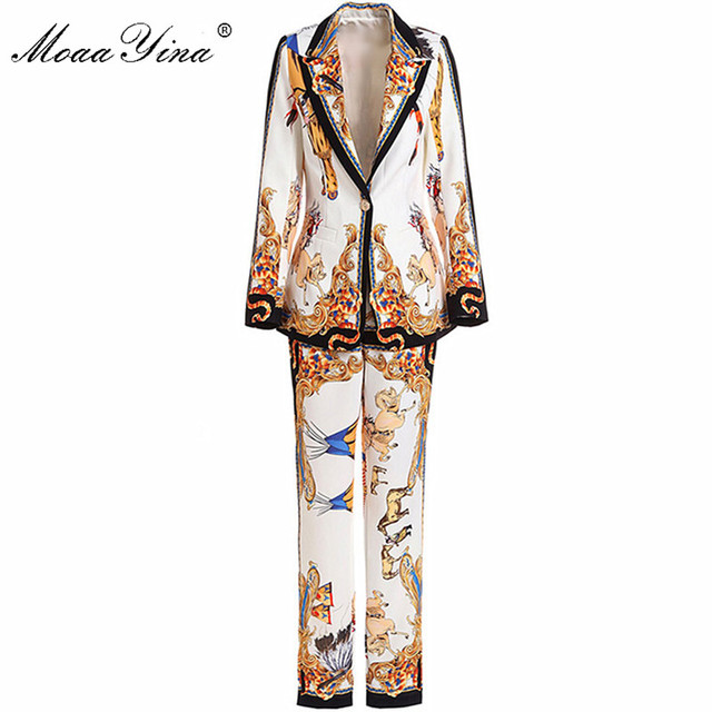 MoaaYina Fashion Designer Runway Set Spring Women Long sleeve Character Career Retro Suit Coat+3/4 Pencil pants Two-piece suit