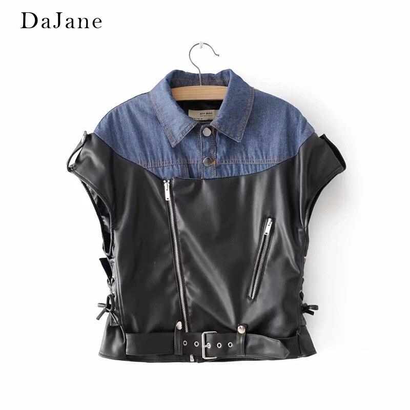 Autumn New women's Denim Color PU   Leather   Vest Top Manufacturers   Leather   Jacket Women