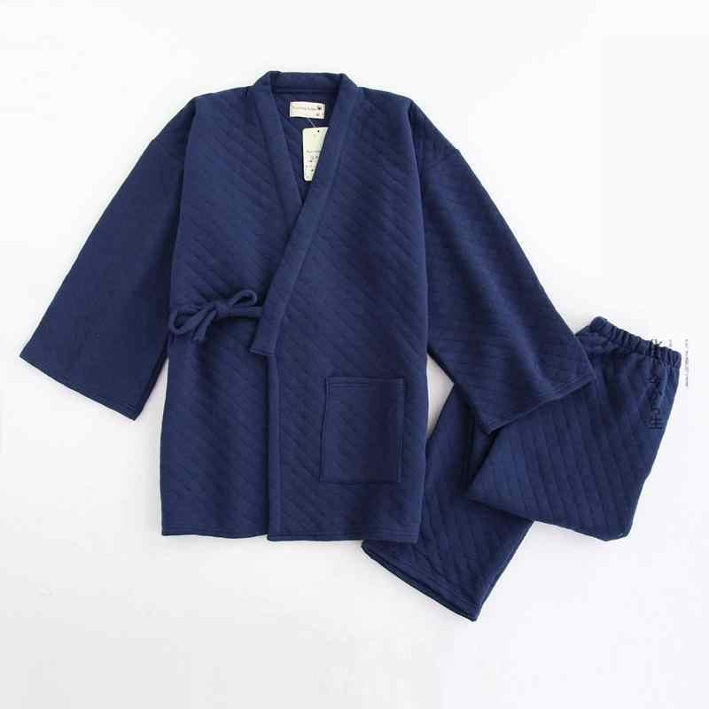 09b2781ac2 Spring Winter Men Cotton Kimono Sleepwear Home Wear Loose Male Pajamas  Pyjamas Suit Casual Sleep Set