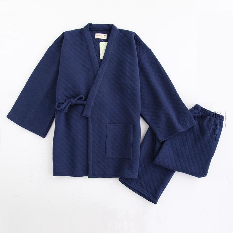 Spring Winter Men Cotton Kimono Sleepwear Home Wear Loose Male Pajamas Pyjamas Suit Casual Sleep Set 2PCS Rone&Pant Nightwear