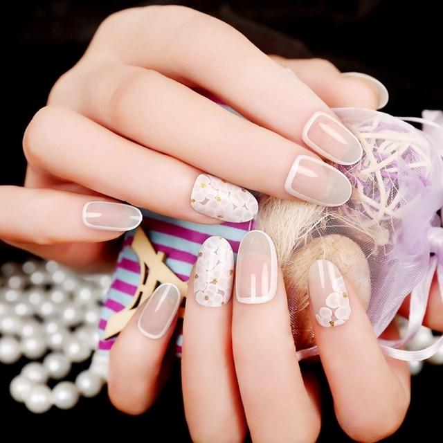 Beautiful Oval Top False Nail Tips Clear Beige Fake Nail White ...