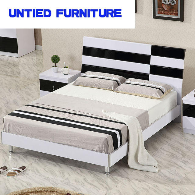 White And Black Modern Beds Hot Selling Simple Bed For Bedroom Furniture  Bedroom Set