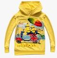 Você pode escolher o tamanho novo menino Minions manga comprida Terry revestimento encapuçado hoodies 4 pçs/lote
