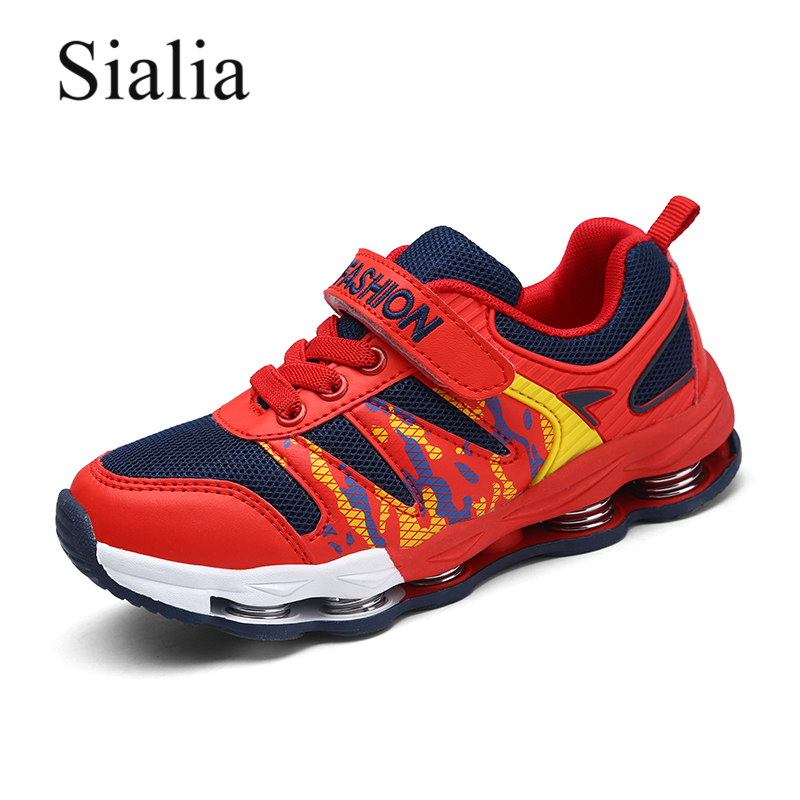 Sialia Sport Kids Shoes For Boys Sneakers School Running Trainers Springs Striped Mesh Breathable Casual Children Shoes Sneakers