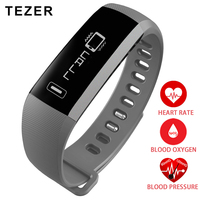 TEZER top Sports Smart Bracelet Oxygen Oximeter Blood Pressure Passometer grey / black /purple Heart rate monitor Remote hours