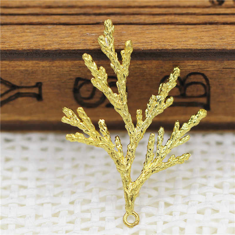 Pine tree Branch Pendant Charms Earrings Supplies DIY Jewelry Findings Settings Crafts Brass Metal Die Casting