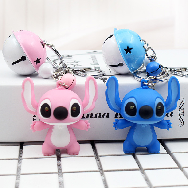 Cute Cartoon Doll Light Voice Stitch Keychain Child Toy Animal Leather Rope Bells Key Ring Trinkets Car Purse Key Chains Gift