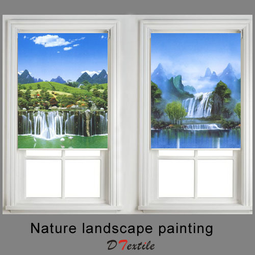 Waterfall Colored Drawing Window Shaded Fabric Roller Blinds 36116