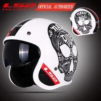 LS2 OF599 Spitfire с открытым лицом винтажный шлем moto rcycle половина 3/4 шлем casco moto винтажный ECE утвержденный размер M-XXXXL