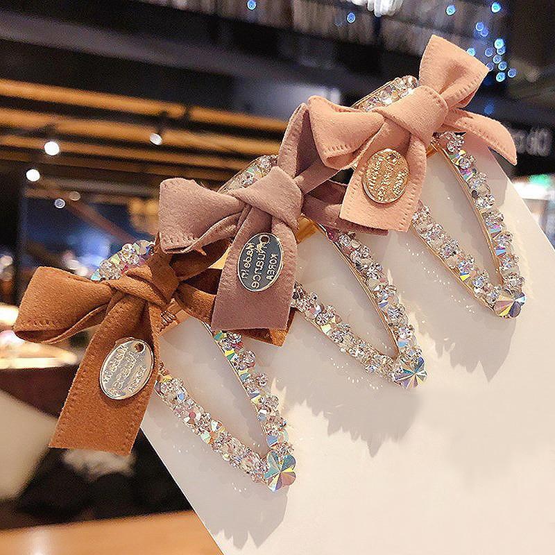 Fashion Bowknot Rhinestone Clips Barrettes Crystal Hair Clip Hairpins for women girls Alloy Hair Accessories