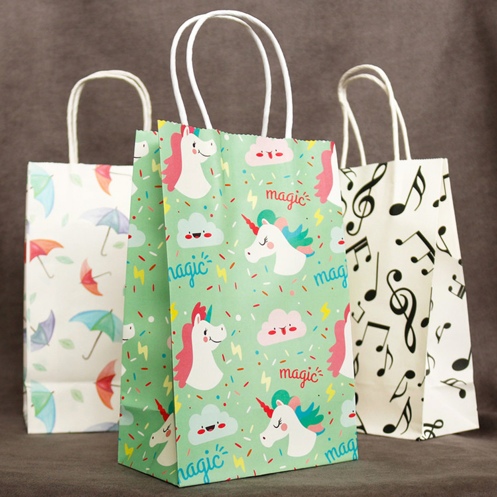 5pcs Unicorn Gift Paper Bags With Handles Cartoon Animal Happy Birthday Paper Bag For Gifts Food Package Gift Bag Wedding Party