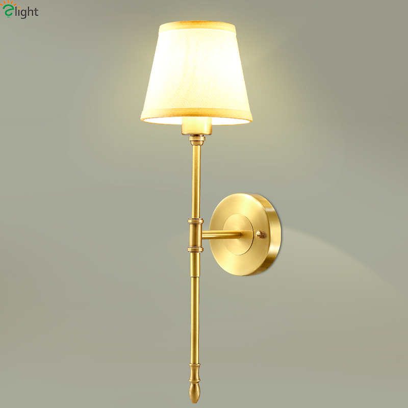 Simple Fabric Tall Wall Light: Aliexpress.com : Buy Europe Retro Lustre Solid Copper Led