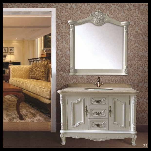 Country Style Wooden White Antique Furniture Bathroom Bathroom Furniture  China Used Bathroom Cabinet
