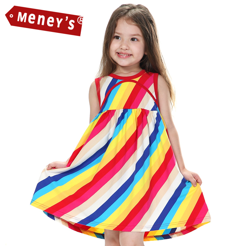 Meney's SD-005 Summer Kids Dress A-line Sleeveless Girls Clothing Rainbow Children Dresses Colorful Striped Baby Clothing Cute 2016 new summer lovely girls dress kids colorful a line leisure fashion dresses children clothing
