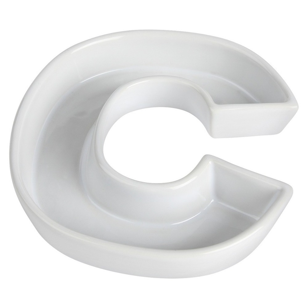 White Ceramic Letter Dish C Candy Plate Party Accessary