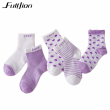 Fulljion Baby Socks 5 Pairs for children Cotton Girls Cartoon Kids Candy Colors breathable stylish Newborn