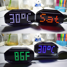 DIY Digital Thermometer LED Clock DIY Kit C/F Matrix Desktop Alarm Wall Clock Electronic Learning Kit 12/24H / Birthday Remind