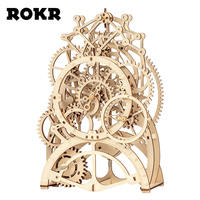 ROKR DIY 3D Wooden Puzzle Mechanical Gear Drive Pendulum Clock Assembly Model Building Kit Toys for Children Adult LK501