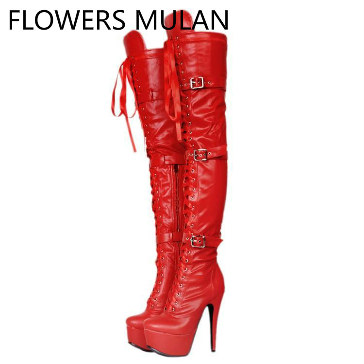 Sexy Thigh High Over The Knee Winter Boots Women Red Black Leather Fashion Show Botas Cross Tied Three Buckle Shoes Woman RunwaySexy Thigh High Over The Knee Winter Boots Women Red Black Leather Fashion Show Botas Cross Tied Three Buckle Shoes Woman Runway