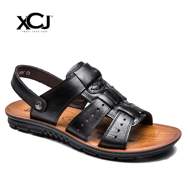 XCJ Men Sandals Genuine Split Leather Men Flats Beach Sandals Brand Men Casual Shoes Flip Flops Thong Sneakers Men Slipper