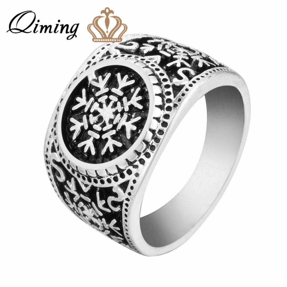 QIMING 2017 Snowflake Men Rings Odens Ravens & Helm of Awe Ring Mens Christmas Band Raven Jewelry Odin Viking Ring