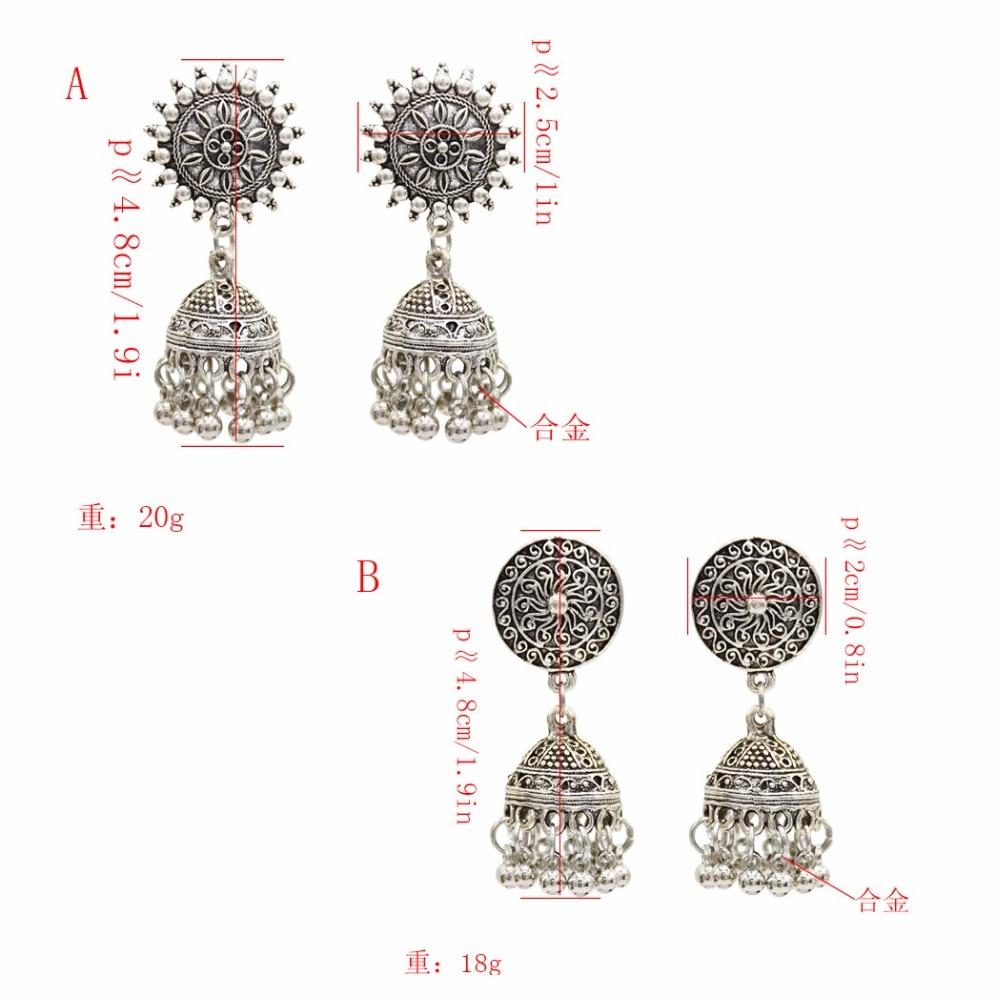 Gypsy Afghan Jewelry Retro Ethnic Silver Indian Jhumka Small Bells Beads Drop Tassel Earrings for Women Bohemian Pendiente Gift 3