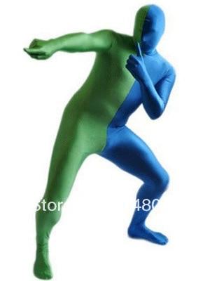 Green & Blue Split Lycra Spandex Full body Zentai Suit