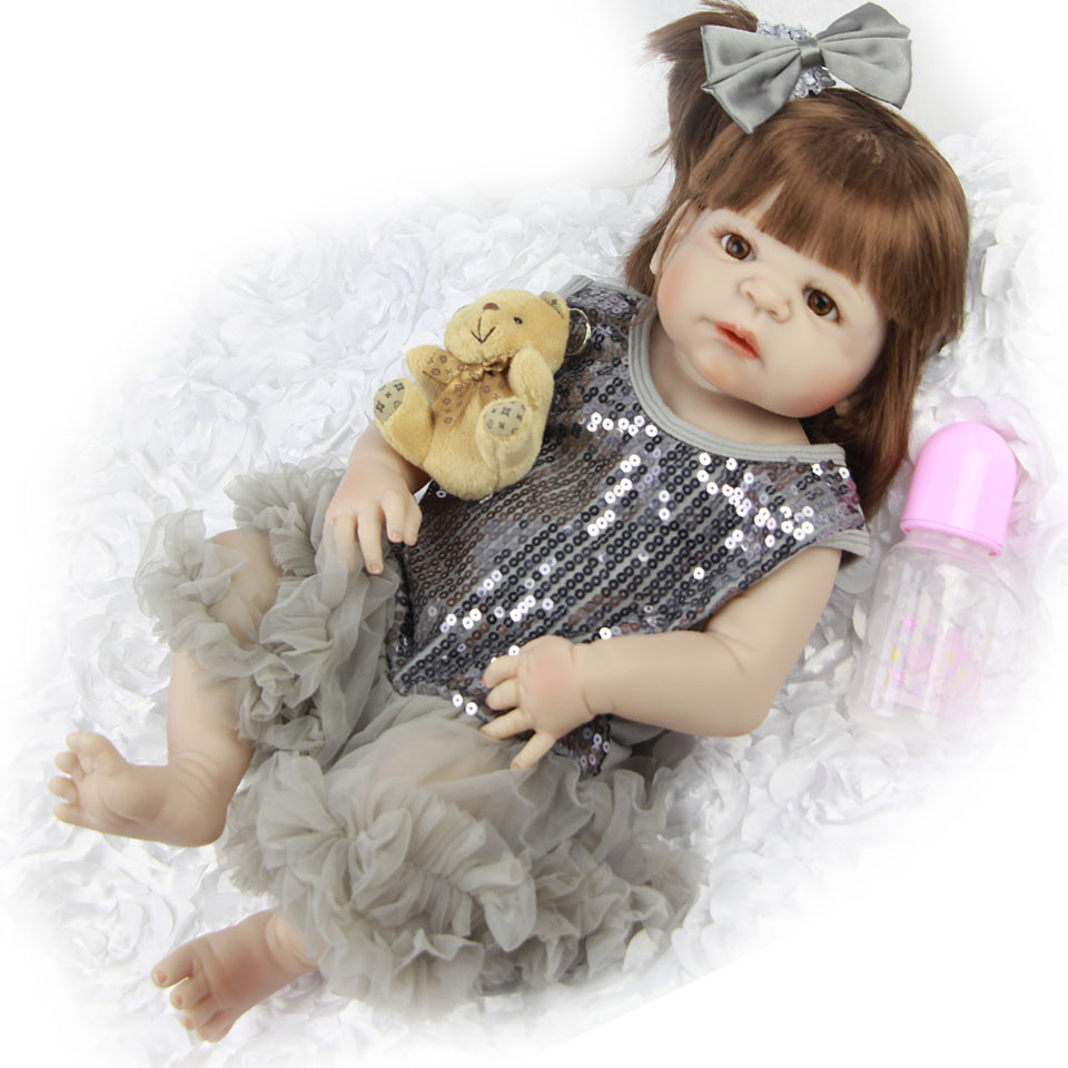 Long Hair Rooted Girl Dolls 23'' Realistic Reborn Babies Full Body Silicone Vinyl Lifelike Baby Dolls Alive bebe Kids Xmas Gifts цена 2017