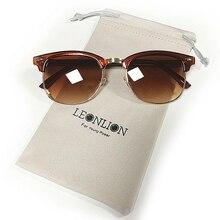 LeonLion 100% Polarizados Semi-Sem Aro Do Vintage Marca Designer Óculos De  Sol Das Mulheres Homens Clássicos Oculos de sol Gafas. 613d9483df