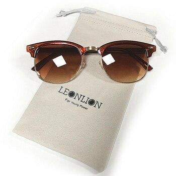 Leonlion 100% polarizado vintage semi-sem aro marca designer óculos de sol feminino/masculino clássico óculos de sol gafas retro