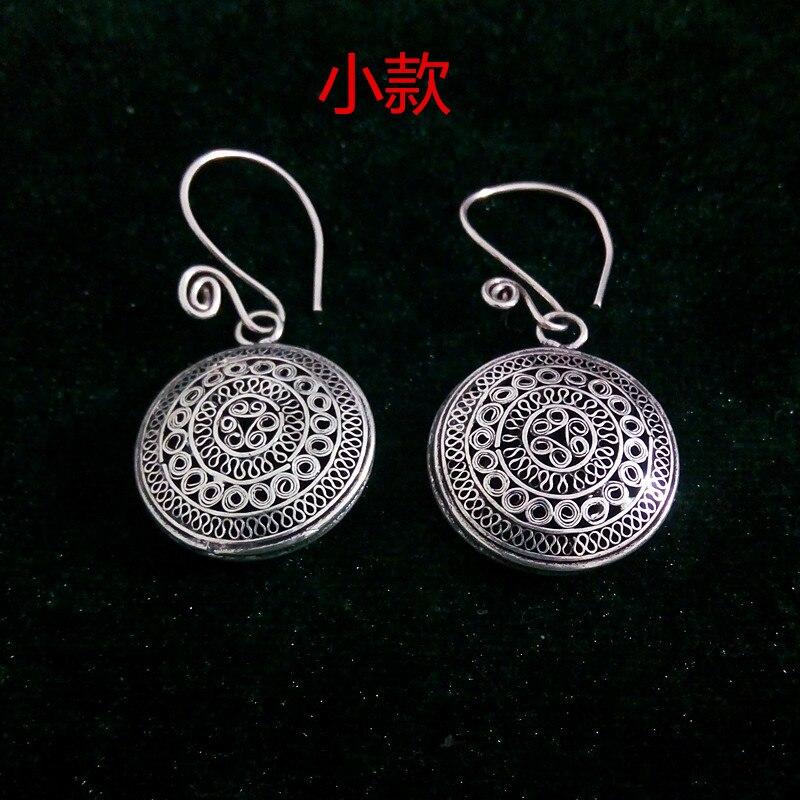 Hot sale new StyleHot >Guizhou Miao silver silver jewelry DIY accessories sun drum earrings pendant crafts