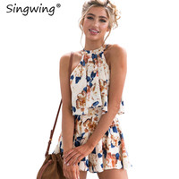 Singwing Printed Flower Printed Hang Loose Playsuits Summer Sleeveless Clothes Jumpsuits Casual Ruffles Women Bodysuits