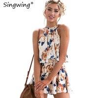 Singwing Imprimé Fleur Imprimé accrocher lâche Combinaisons Été sans manches vêtements Combinaisons Casual Ruches Femmes Combinaisons