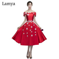Lamya Embroidery Red Taffeta Boat Neck Tea Length Prom Dresses 2017 Elegant Evening Party Gowns Special