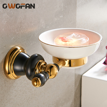 купить New Luxury golden Solid Brass Wall Mounted Bathroom Accessories Soap Dish Holder Ceramic Base Soap Dish soap rack XL-66803 по цене 1955.52 рублей