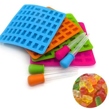 53 полости FDA силиконовые клейкие Медвежонок конфеты формы Gummie производитель шоколада формы с капельницей подарок для ваших детей
