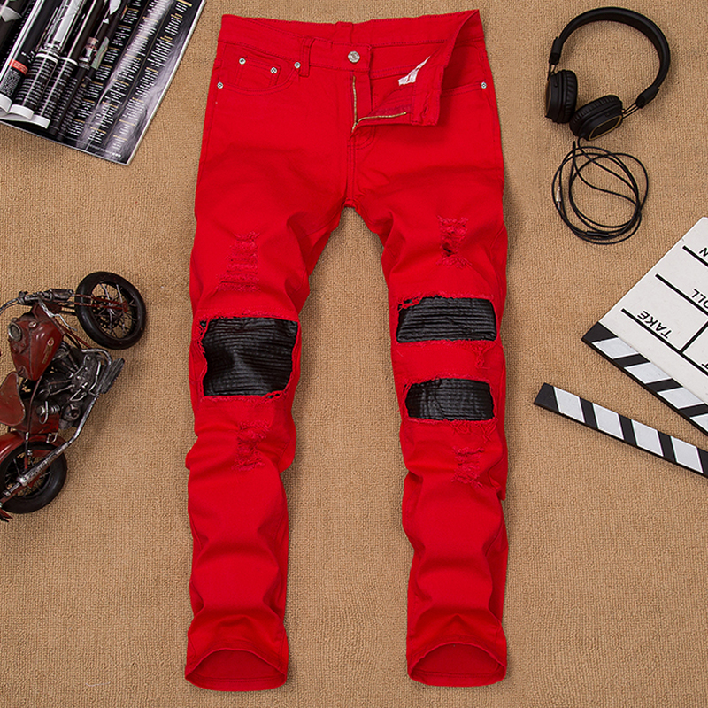 ФОТО Mens denim istressed jeans joggers red patchwork hole straight male jeans skinny black leather pants brand famous plus size