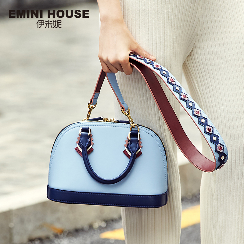 EMINI HOUSE Indian Style Shell Bag Split Leather Luxury Hand