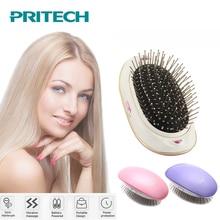PRITECH Мини электрическая расческа для волос выпрямитель для волос отрицательная ионная расческа на вынос Антистатическая Массажная портативная прямая щетка для волос