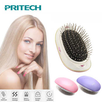 PRITECH Mini Electric Hair Comb Hair Straightener Negative Ionic Comb Takeout Anti-static Massage Portable Straight Hair Brush - DISCOUNT ITEM  50% OFF All Category