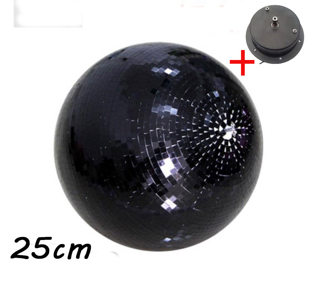 D25cm diameter black glass rotating mirror ball 10