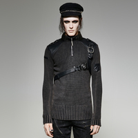Heavy Punk Belt Vintage Sweater Steampunk Autumn Winter Men S Cool Thick Sweater Tops