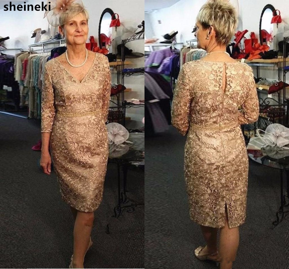 Us 8395 37 Off2019 Gold Full Lace V Neck Mother Of The Bride Dresses Long Sleeves Belt Knee Length Wedding Guest Dress Plus Size Mother Gowns In