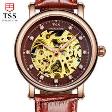 TSS 2016 световой Известный Бренд Мужские Часы скелет механические часы Мужчины Relogio Masculino мужские Наручные Часы